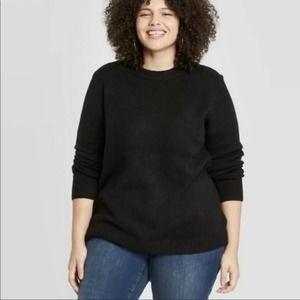 Ava & Viv Long Sleeve Crew Beck Sweater Black 3X